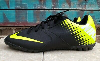NIKE JR BOMBA Boys/Youth Black Volt Turf Shoes Size 6Y