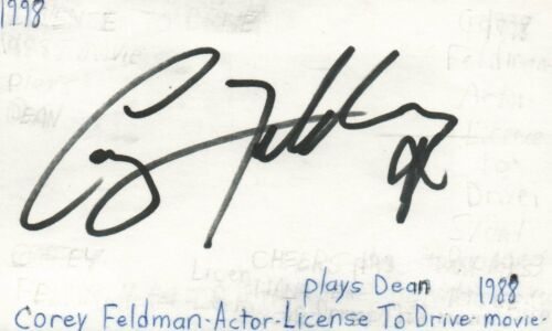 Corey Feldman Actor Licence To Drive Movie Autographed Signed Index Card JSA COA