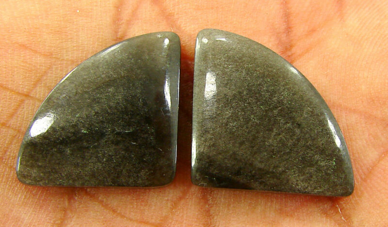 24.15 Ct Natural Silver Obsidian Pair Loose Gemstone Untreated Cabochon - 28694