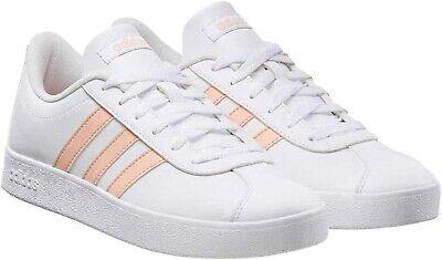 Adidas Kids Girls White Pink Baseline Court Sneaker Skateboard Gym Shoes Size 3
