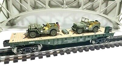 MENARDS O GAUGE US ARMY MILITARY FLATCAR WITH 2 Jeeps  LIONEL MTH Compatible