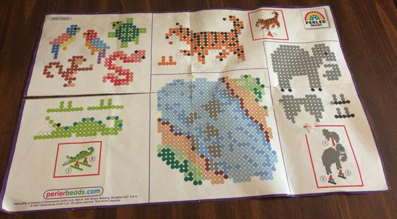 Perler Beads Jungle Pattern Lion Tiger Alligator Elephant Birds Snake Stands Up