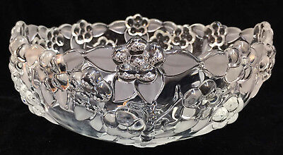 Mikasa Crystal Glass Bowl Carmen Pattern Embossed Flowers Frosted Leaves 9""