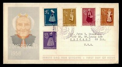 DR WHO 1958 NETHERLANDS FDC REGIONAL COSTUMES SEMIPOSTALS  C242610