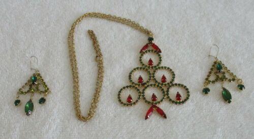 VINTAGE [ Christmas Tree Necklace & Weiss Earrings  ] **LOOK