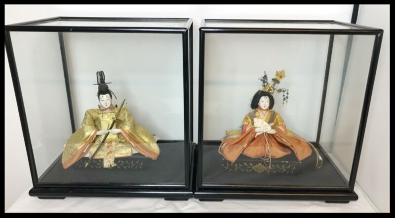 Antique/ Vintage Japanese Hina Dolls - Museum Quality in Glass Displays