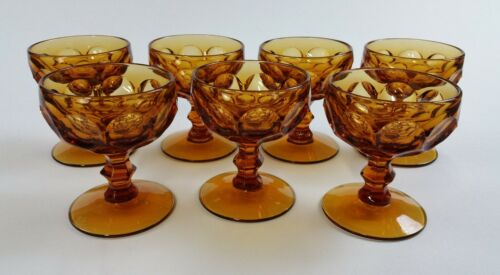 sherbet champagne glasses amber thumbprint imperial provincial   *  set of 7