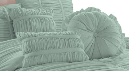 Chezmoi Collection Chic Ruched Ruffle Pleated Textured Comforter Bedding Set 4