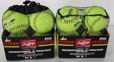 Lot 2 Rawlings Recreational & Practice Softballs 4 packs (8 Total Balls)