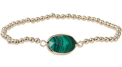 NEW Delicate Faceted Oval Imitation Malachite Gold Tone Bead Stretch -