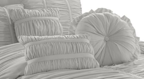 Chezmoi Collection Chic Ruched Ruffle Pleated Textured Comforter Bedding Set 1