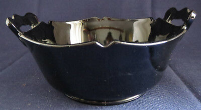 LE Smith Mount Pleasant Black Amethyst Ebony Glass Mayonnaise Flat Handle Bowl