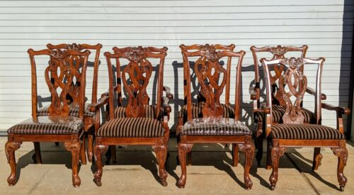 Set of 8 - 4 Armchairs 4 Side Chippendale Style by Ashley Furniture