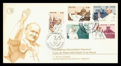 DR WHO 1980 BRAZIL FDC POPE JOHN PAUL II VISIT CACHET COMBO  g21923