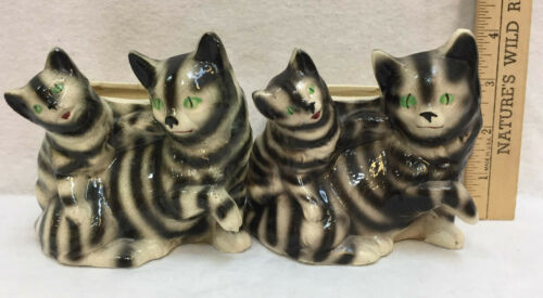 Cat Planters Kitten Kitty Black White Green Eyes Pottery Vintage Ceramic Set 2
