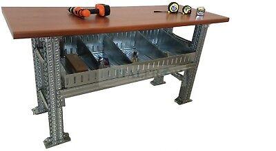 Banco de trabajo robusto industrial con bandejas de almacenamiento Bricolaje est