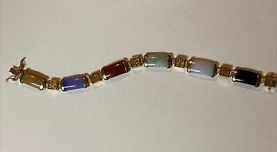 gold tone metal Classy vintage 60s byzantine links bracelet Size 7 12 Made by Goldette