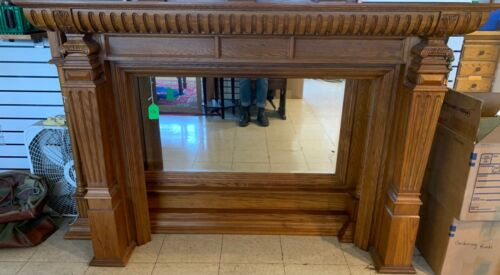 Oak fireplace surround/mantle with mirror, very nice