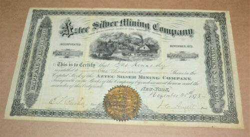 Aztec Silver Mining Company 1878 antique stock certificate