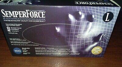 Semperforce Black Nitrile Disposable Gloves Tattoo Large Mechanic- 1 Box