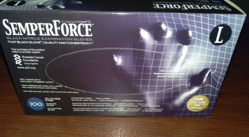 Semperforce Black Nitrile Disposable Gloves Tattoo Large Mechanic- 1 Box