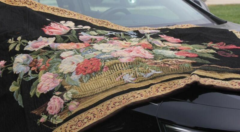 "VTG TAPESTRY-CORONA DECOR CO ART NO.1501, 38X52 ""BASKET OF FLOWERS"" W/HANGERS"