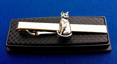 Cat Tie Bar Kitten Feline Animal Lover Tie Clasp Tie Clip Gift Idea