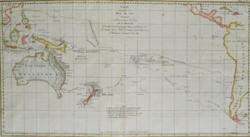 Pacific Ocean, New Zealand, Australia.. Benard/Cook, 1789, Carte..Mer du Sud