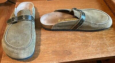BIRKENSTOCK SLIDE ON SHOES-GREEN LEATHER,BROWN STRAP-WOMENS 9,MENS 7-PREOWNED