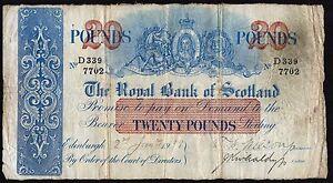 1938 ROYAL BANK OF SCOTLAND £20 BANKNOTE * D 339/7702 * F *