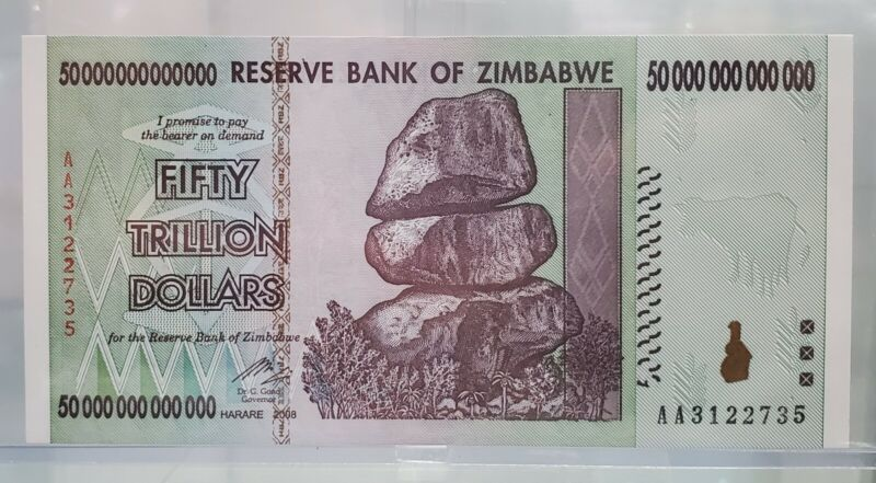 50 Trillion Dollars 😱😱 Reserve Bank of Zimbabwe 2008 AA - Gem Uncirculated