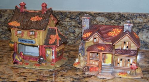 Halloween Thanksgiving Village Farm House & Dilapidated Country Store Building