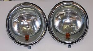 Head lights US spec style VW Beetle pre 1967 complete with Halogen bulbs 12 volt