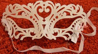NEW White patterned glitter Masquerade Mask Eye Gothic halloween