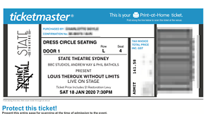 2 tickets - Louis Theroux Without Limits SYD tour 18 JAN 2020 7:30pm