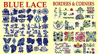 BLUE LACE, BORDERS AND CORNERS, PES EMBROIDERY MACHINE CD
