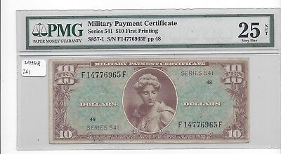 MPC Series 541  10 Dollars   PMG 25 VERY FINE net  scarce type