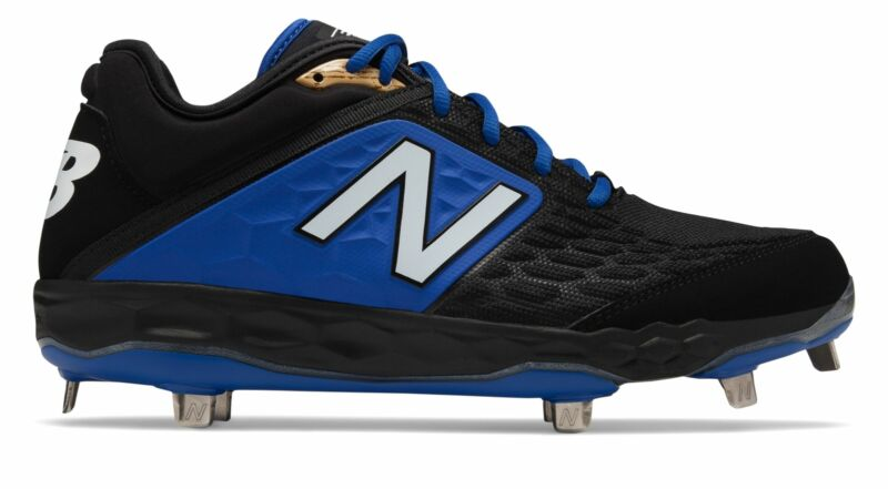 New Balance Low-Cut 3000v4 Metal Baseball Cleat Mens Shoes Black with Blue Size