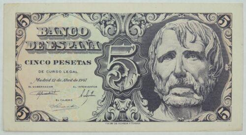 1947 5 (Cinco) Pesetas Banco De Espana (Bank of Spain) SN#5418775  (073118)