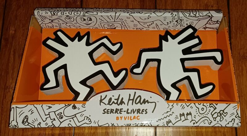 Keith Haring Dancing Dogs Book Ends Wooden Bookends
