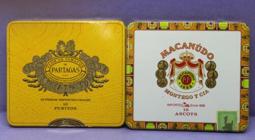 Lot of 2 Vintage Cigar Tins - Partagas Puritos + Macanudo Ascot - Empty Tins
