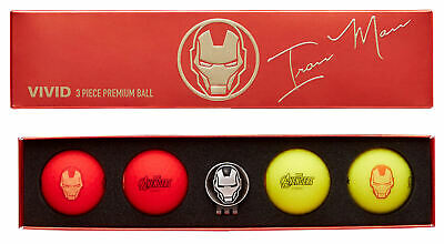 Volvik Vivid Marvel Iron Man Golf Balls 4 Ball Pack w/Ball