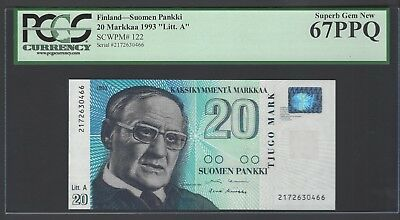 Finland 20 Markka 1993 P122 Uncirculated Graded 67
