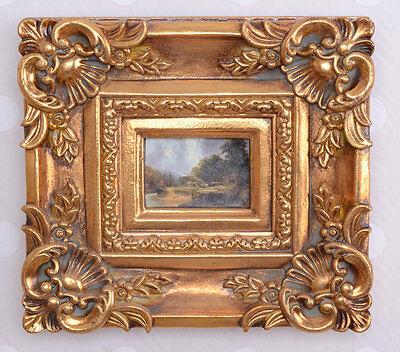 Prunk Bild im Goldrahmen Landschaft Antik Stil Rahmung