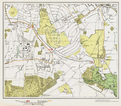 Bromley (S) West Wickham Hayes Map London 1932 #127-128