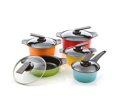Roichen Ceramic Aluminum Cookware Saucepan Casserole Fondue Pasta Pots 10p