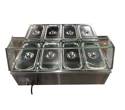 Newest 8-pot Bain-marie Buffet Food Warmer Double Row 110v Power Food Equipment