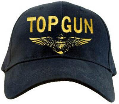 U.S. Navy TOP GUN Hat / USN Aviator Wings Dark Navy Baseball Cap - Top Gun Hat