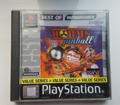 Worms Pinball PlayStation One PS1 Game * Complete * Set Disc Box Manual Included