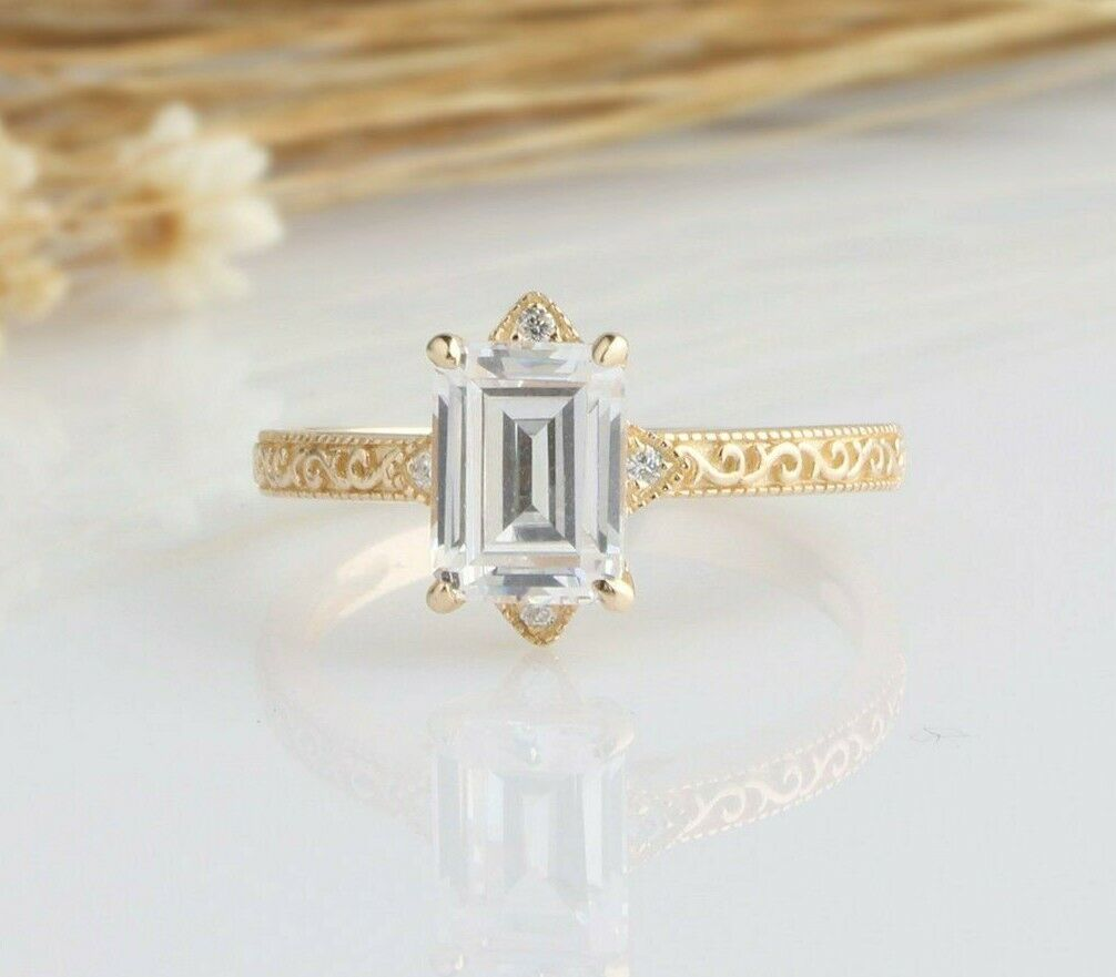2.02 Tcw Emerald Cut Vintage Style Engagement Ring in Yellow